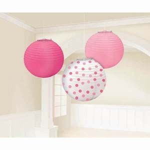 A241022 - Lanters Girl Assorted - Pack of 3 Lanterns Girl Assorted Pink & Dots (24cm Diameter) Paper - Pack of 3. Please note: approx. 14 day delivery