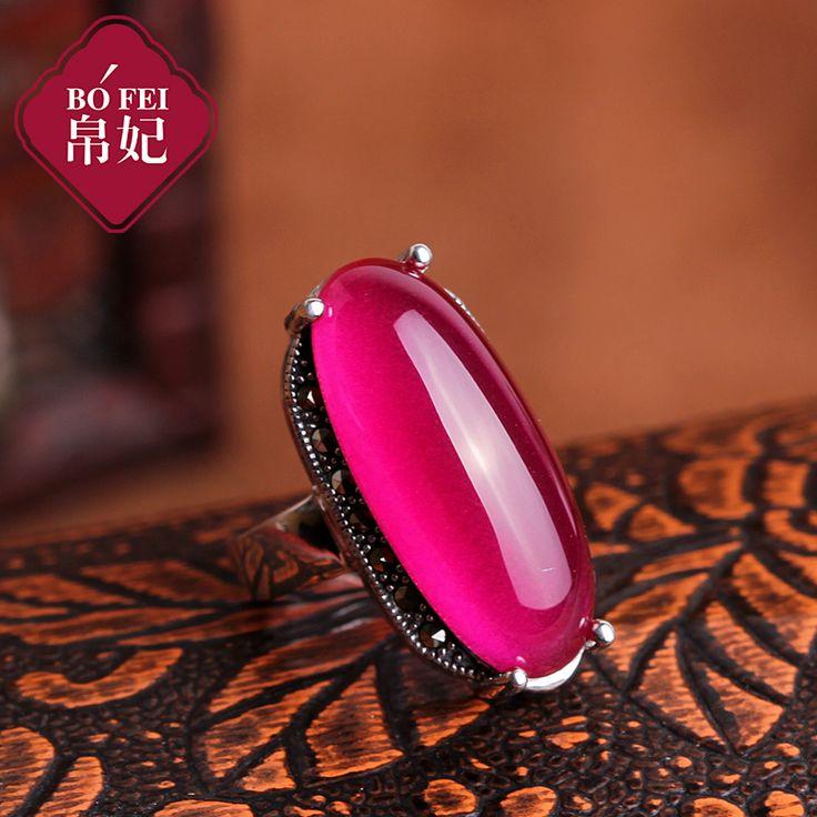 Серебро винтаж тайский серебро серебро 925 чистого серебра красный корунд рубин безымянный палец кольцо женщин