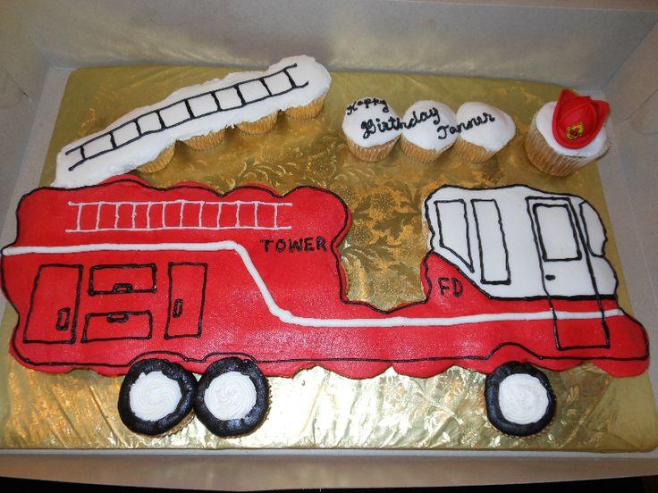 Fire Truck Cupcake Cake 1 cakepins.com