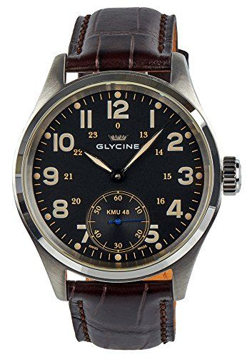 Now available Glycine KMU 48 Kriegs Marine Uhren Manual Wind Stainless Steel Mens Watch 3906.19AT LB33