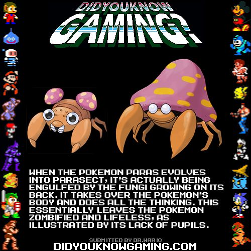 video-game-history-did-you-know-gaming-pokemon-parasect-pokemon-zombie-fungus-cordyceps