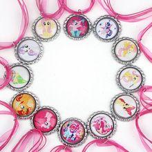 46 cm 10 strand surtido My Little Pony collar personaje de la cinta cable con cerveza tapa de la botella collar de collar Girls joyería DIY(China (Mainland))