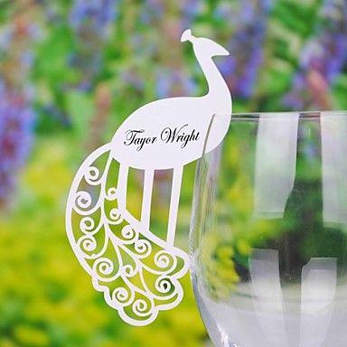 tarjetas del lugar y los titulares de tarjeta de pavo real bonito lugar para galss vino (juego de 12) – USD $ 3.99