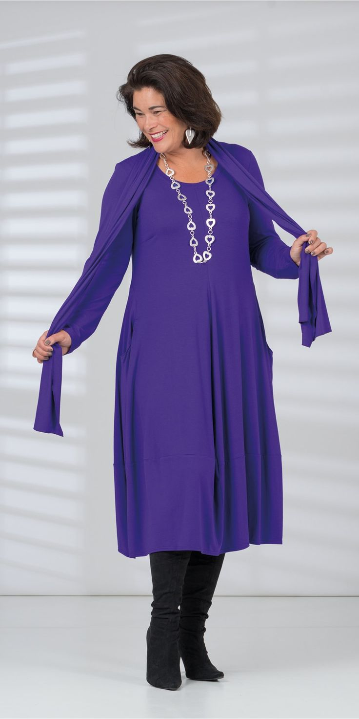 Q'neel purple jersey dress and scarf