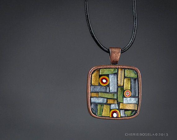 Abstract Art Deco Mosaic  Wearable Art  Pendant by CherieBosela
