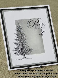 "By Tamara Bertram. Uses Stampin' Up's ""Lovely as a Tree."" Masked, sponged, stamped. Tree stamped in black StazOn then again with Stampin' Up Smoky Slate. White gel pen added to edges of tree and a few spots in sky."