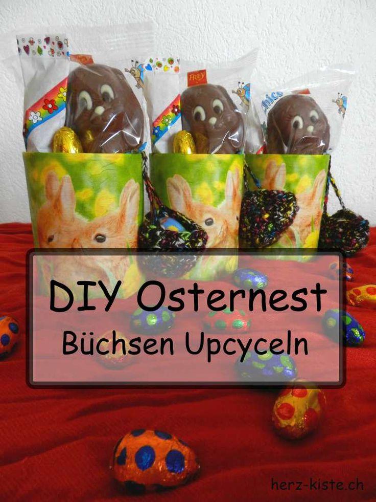 DIY Osternest - Büchsen Upcyceln mit Serviettentechnik