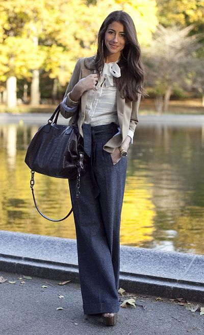 love the wide pants with the classic top and cardigan