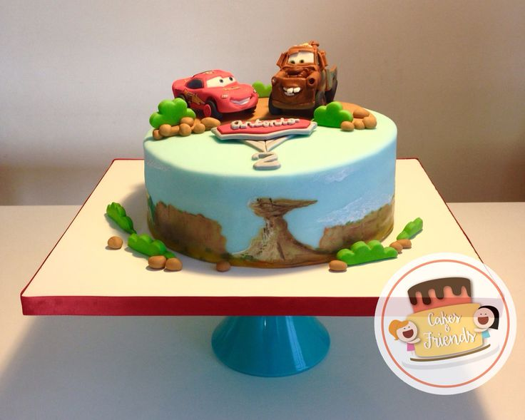 Cars cake, Lightning Mcqueen and Mater modeled in Fondant