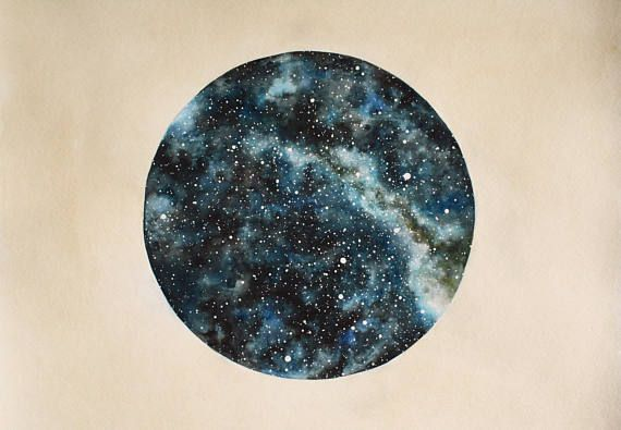 FINE ART PRINT of Original Star Chart Watercolor Painting Star Portrait