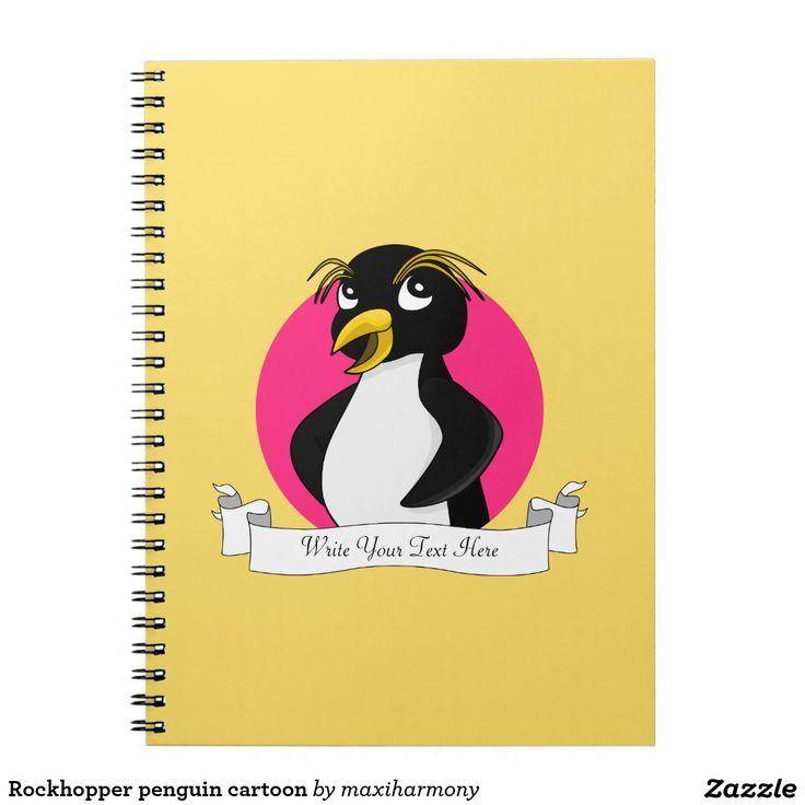 Rockhopper penguin cartoon spiral note books