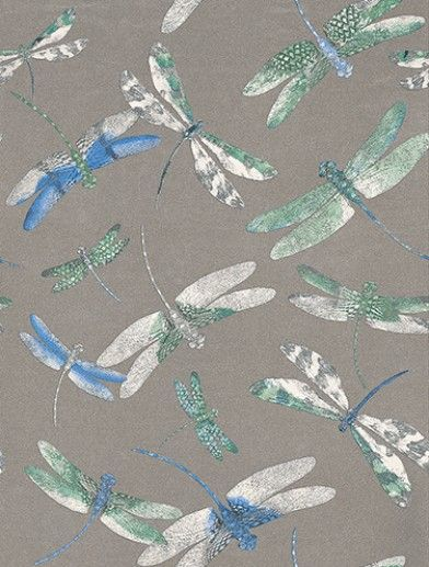 Dragonfly Dance Blue/Jade (W6650-02) - Matthew Williamson Wallpapers - A signature design from Matthew Williamson's fashion collection reinterpreted here with stunning metallic effects. Shown in the Persian blue and jade on metallic silver. Please request sample for true colour match.
