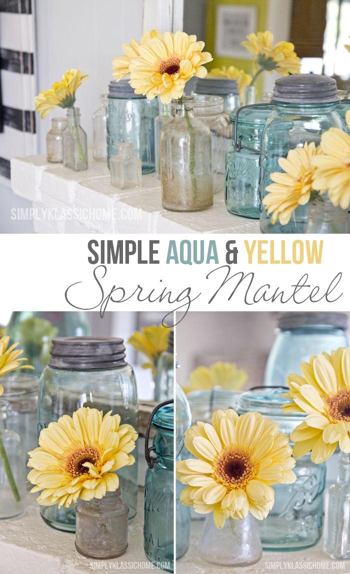 Simple Aqua Yellow Spring Mantel
