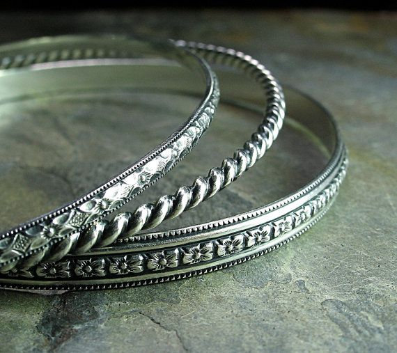 Sterling Silver Stacking Bangles  'English Garden'     ....by LavenderCottage on Etsy