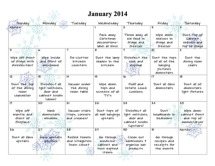 January 2014 Cleaning Calendar from Palmettos and Pigtails