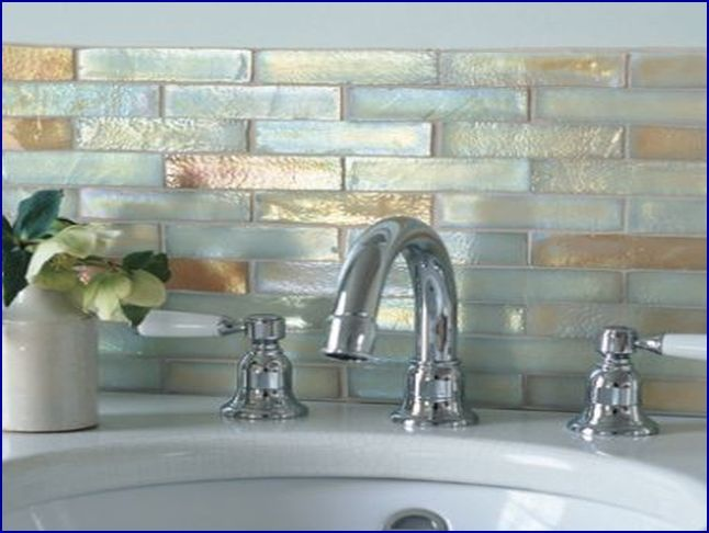 ivory iridescent glass mosaic tile  Kitchens  Glass