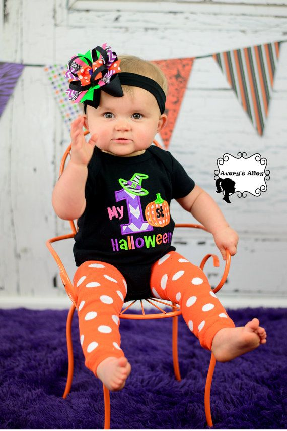 my halloween girls applique black shirt or bodysuit and matching hair bow set for first halloween - Baby First Halloween