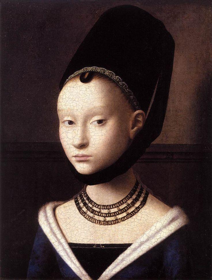 Portrait of a young girl, Peter Christus, oil on wood, ca 1470, 29 x 22,5 cm, Staatliche Museen, Berlin.