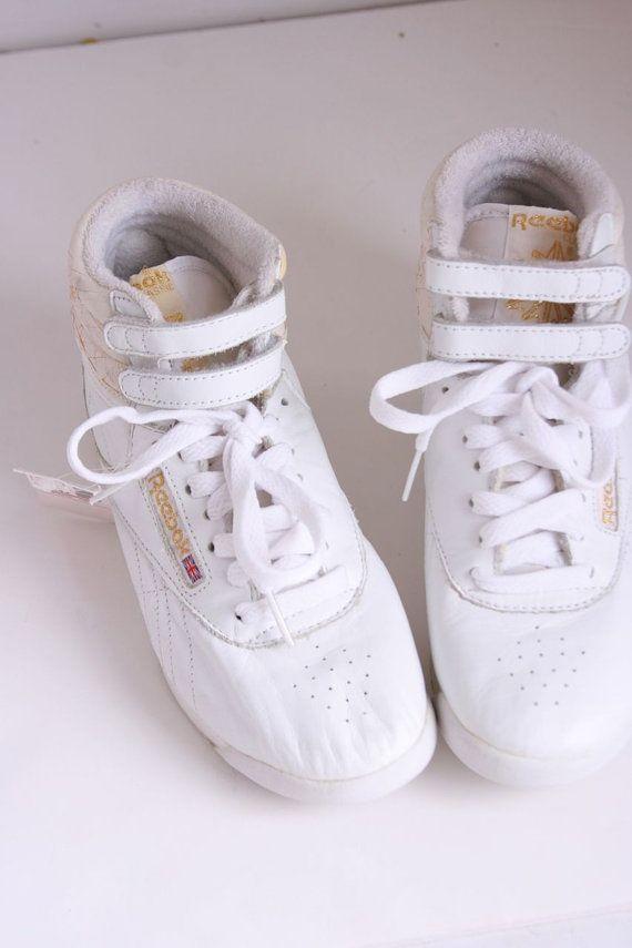 Vintage Reeboks white high top sneakers deadstock by fuzzymama