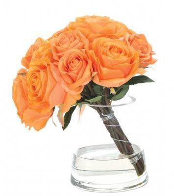 Natural Decorations, Inc. - Orange Rose Watergarden | Glass Pyramid Vase