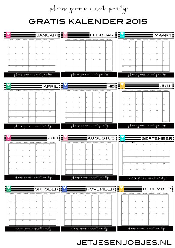 GRATIS 2015 KALENDER. Download de gratis 2015 kalender van Jetjes & Jobjes
