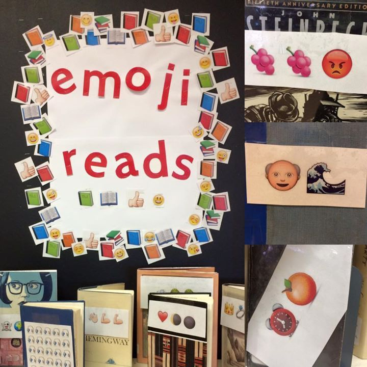 Book display: book titles made out of emojis