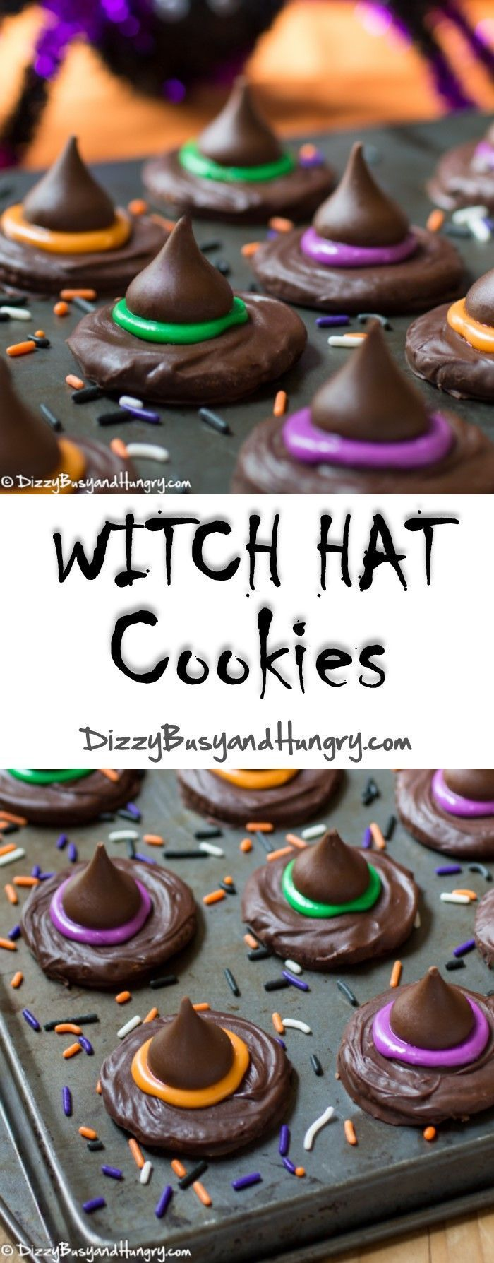 Witch Hat Cookies #SundaySupper   http://DizzyBusyandHungry.com - These no-bake Halloween witch hat treats are so easy and fun to make and to eat!