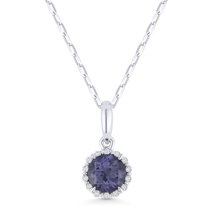 0.74ct Round Cut Alexandrite & Diamond Halo Pendant & Chain Necklace in 14k White Gold - AM-N1008AXW - AlfredAndVincent.com