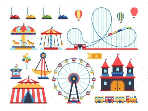Amusement Park Attractions Train Ferris Wheel Roller Coaster Drawing Amusement Park Ride Drawing