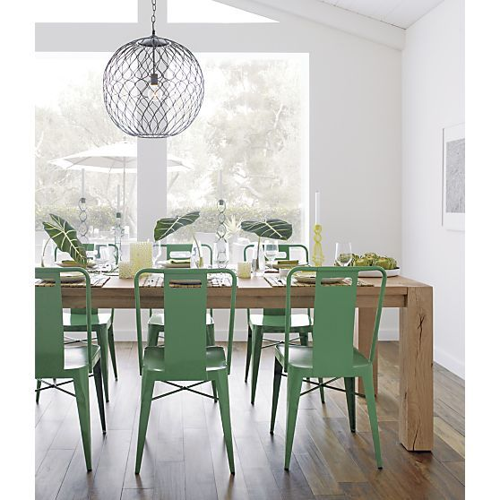 Crate And Barrel Ming Green Side Chair Hoyne Pendant Lamp Big Sur Dining Table