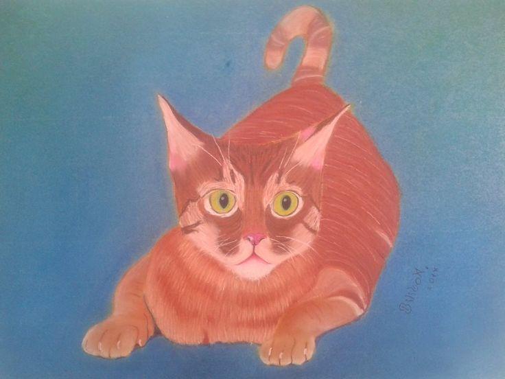 """""""An attentive cat"""" 50x70 pastel,cardboard."""