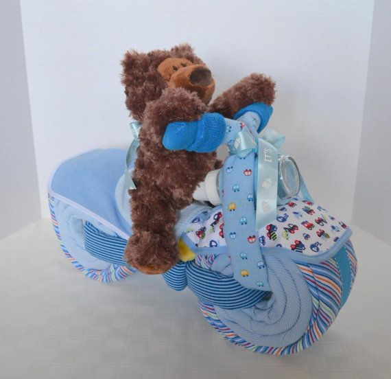 Baby Boy Gifts Newcastle : Motorcycle bike diaper cake baby shower gift centerpiece