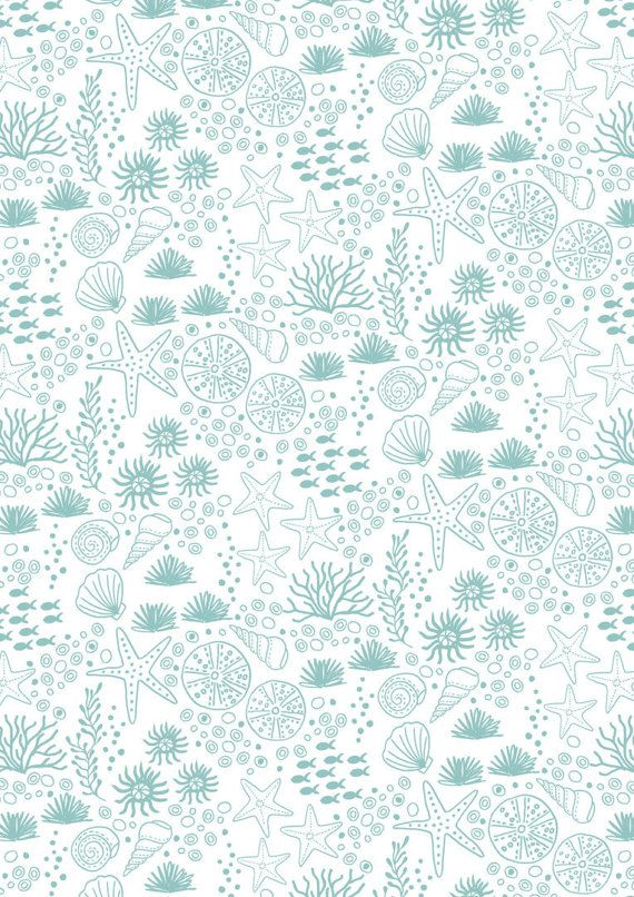 Pretty Ocean Fabric  Blue and White  Coral  by SpindleandRose