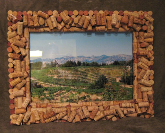 items similar to wine cork picture frame napa valley on etsy - Wine Picture Frames