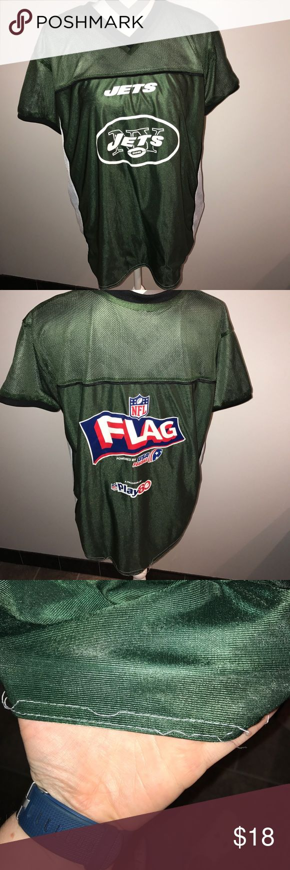 NFL New York jets flag football jersey Size large . Has been used the stitching on back bottom hem got messed up (pictured) other then that great condition NO TRADES NFL Shirts
