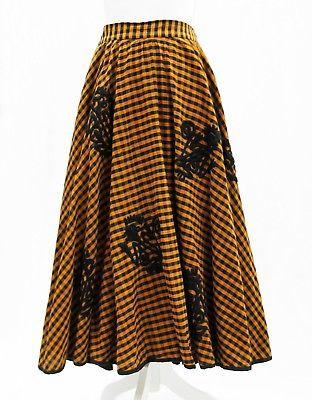 Vtg Tachi Castillo Taxco Mexico Checkered Embroidered Folk Art Full Circle Skirt