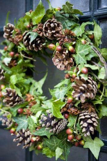 ブドウの蔓で作ったリース台に、アイビーとオトギリソウ、松ぼっくりで飾り付け。  フレッシュの良さが出たリース。