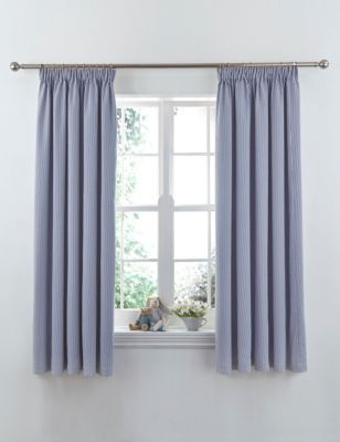 Ticking Striped Pencil Pleat Curtains | M&S