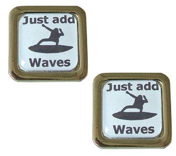 Just Add Waves Surfing Cufflinks - Ride the wave.