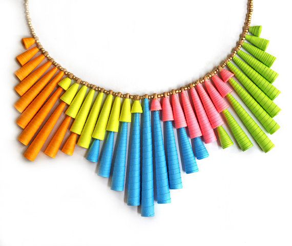Neon necklace - Neon Jewelry - Colorful necklace - Statement jewelry - Neon, Pink, Orange, Blue, Yellow, Green, Colorful, Statement. $79.00, via Etsy.