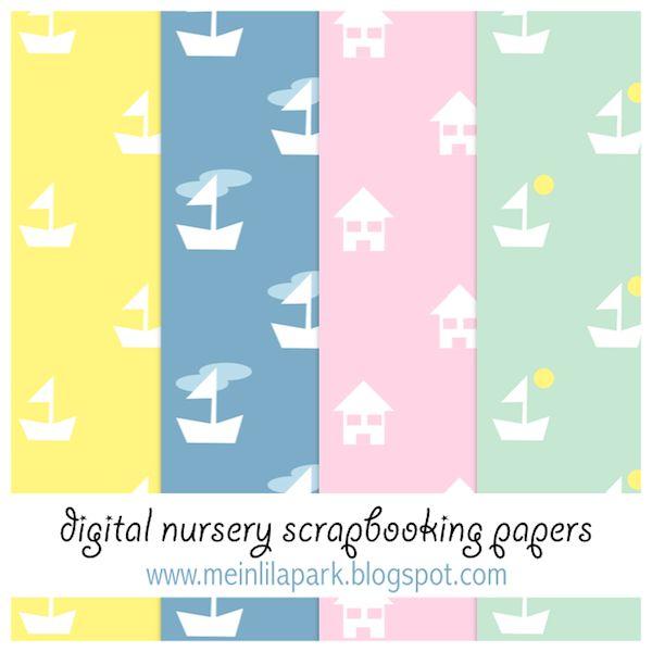 Free digital nursery scrapbooking papers - ausdruckbares Geschenkpapier - freebie