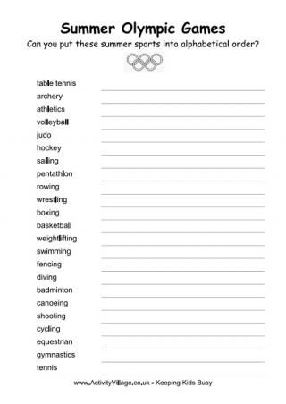 summer olympics alphabetical order worksheet olympics pinterest see best ideas about. Black Bedroom Furniture Sets. Home Design Ideas