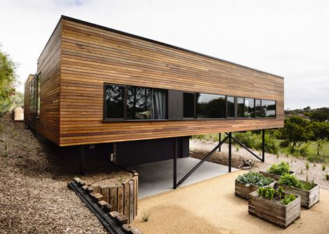 Blairgowrie House by Wolveridge Architects creates a timber-clad seaside home