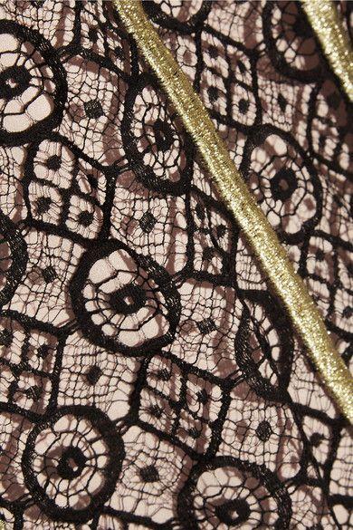 Черный хлопок смесь кружева, бежевого эластичного шелкового атласа потайная застежка-крючок и застежка-молния на спине Ткани1: 54% хлопок, 22% нейлон, 24% вискоза; полиэстера fabric2: 95% шелк, 5% эластан сухая чистка