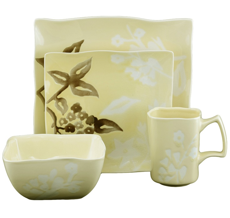 This warm-coloured stoneware in soft daffodil combines sophisticated floral accents on contemporary, free-form shapes. #ilovetoshop