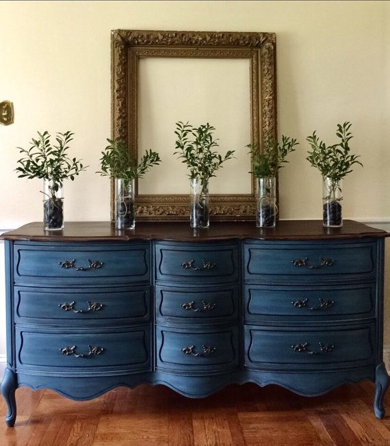 Items similar to SOLD Vintage French Provincial Dresser Painted Annie Sloan Aubusson Blue Farmhouse Cottage Style on Etsy