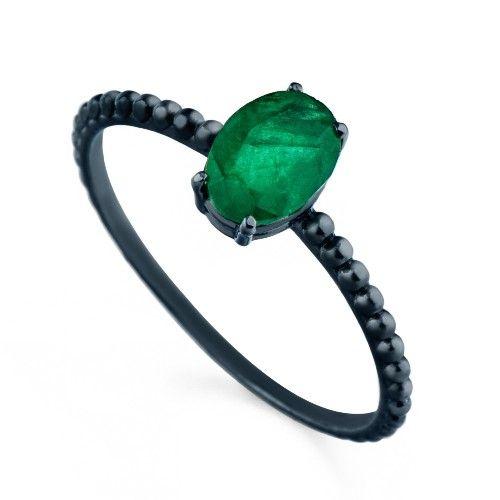 Anel em Ouro Negro 18k Esmeralda an32870 KT - Joiasgold #ouro #anel #ring # esmeralda