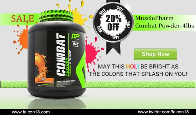 Make the Holi festival even more brighter and colorful with your gleaming health by using MusclePharm Combat Powder.  The 20% straight discount is making this product irresistible.   Order now to buy online:- http://www.falcon18.com/-Combat-Powder-4lbs.htm?1007474/HC12014948.pls