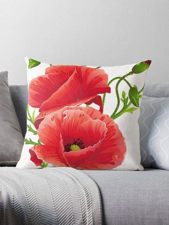 Red Poppies pillow / white pillow design cushion 46 cm /