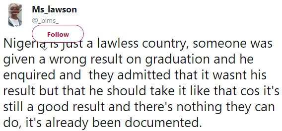 A Nigerian University would issue a student with another person's result & say there is nothing they can do about it? http://ift.tt/2zDMahr